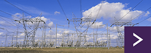 Field of high voltage electricity pylons