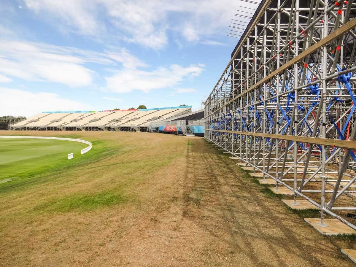 Hagley Oval Temporary Stadium - New Zealand - Temporary Structure secured with Earth anchors