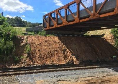 WSSU Slope Stabilization - Winston Salem, NC - New bridge slope underneath to be stabilised