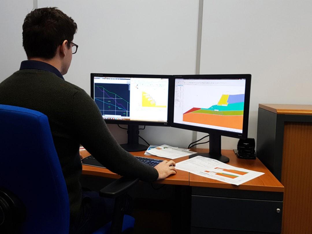 Platipus Geotechnical Engineer working on slope drawings