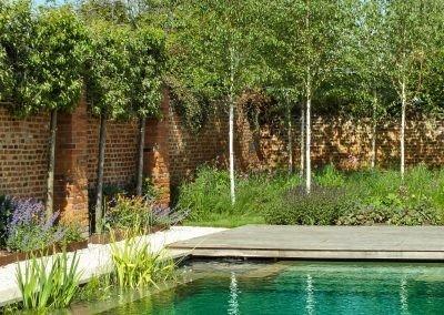 Hertfordshire Walled Garden next to pond