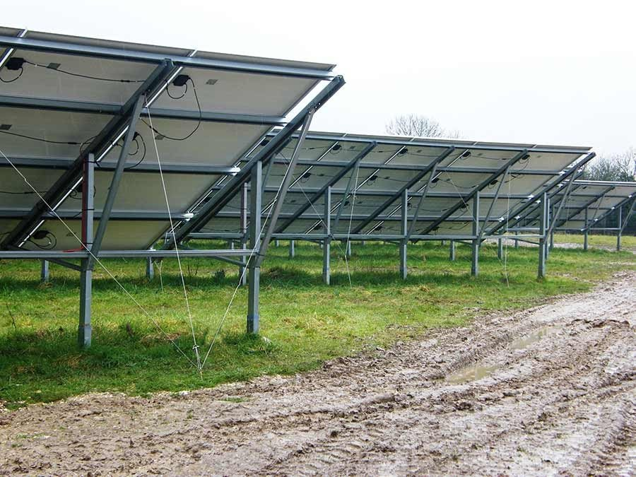 Crossways Solar Park (5MW) Retro-Fit – UK Photovoltaic panels installed with earth anchors