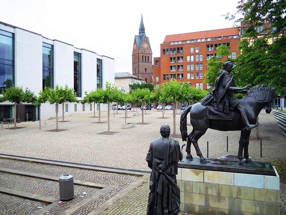 The square of the Göttingen Seven at the parliment of Saxony, Germany
