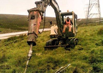Fallago-Wind-Farm installing Platipus earth anchor