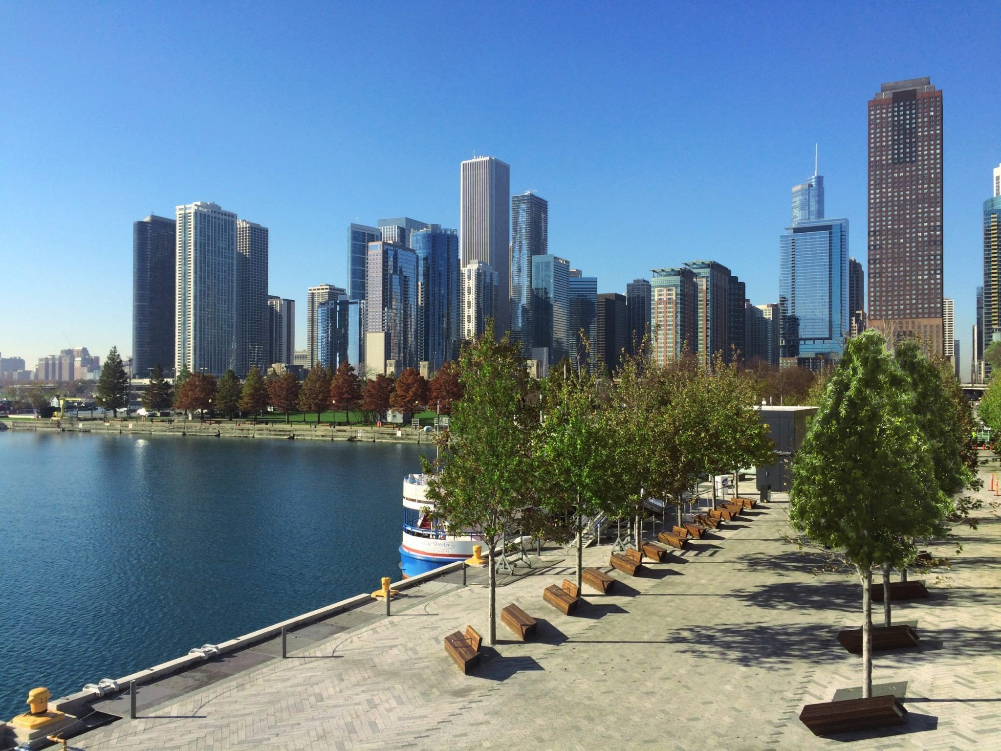 Navy Pier trees installed with Platipus anchors