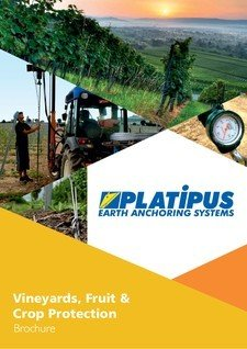 Platipus Anchors Brochure Cover for Vineyards Orchards Hops Soft Fruit and Crop Protection